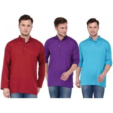 stylish solid blue, maroon and purple rayon short kurta for men (Set of 3 )