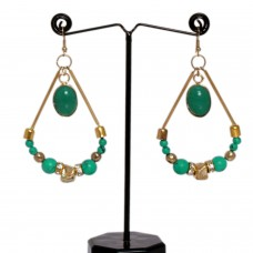 Green boho chandelier earrings