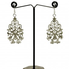 Silver balinese chandelier earrings