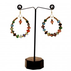 Multicolor boho hoop earrings