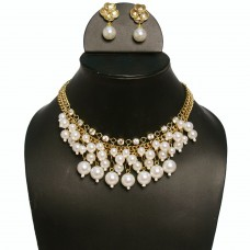 Statement faux pearl Golden Necklace set