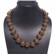 Big brown beads tropical necklace