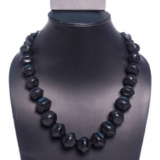 Big black beads tropical necklace