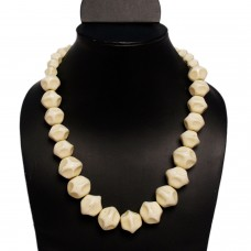 Big cream beads tropical necklace