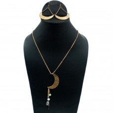 Golden moon long necklace set