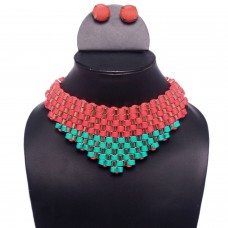 Red and green statement necklace set