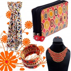 Orange printed scarf with cuff and clutch and necklace set