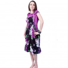 Black Floral Flowy Dress with Purple Scarf and Bracelet