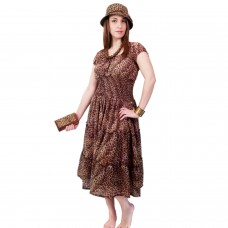 Animal print summer dress with Hat Clutch and Necklace