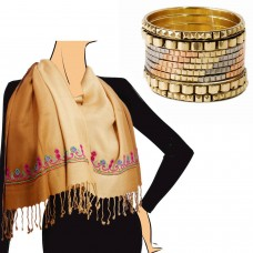 Combo of embelished scarf and bangles