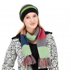 Set of handmade soft multicolor cap and Muffler