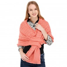 Handknitted peach pull through stole/shawl/muffler