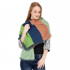 Handknitted multicolor pull through stole/shawl/muffler