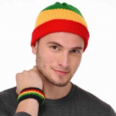 Unisex bob marley color handmade cap and wrist band
