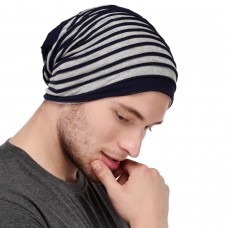 Trendy Grey and blue jersey beanie cap