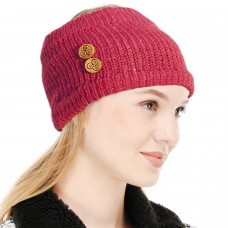 Dark Pink Winter Woolen Womens Headband Earwarmer Earmuff