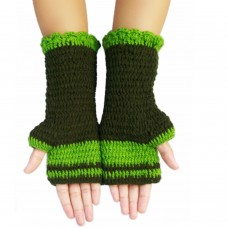 Hand knitted moss green hand gloves