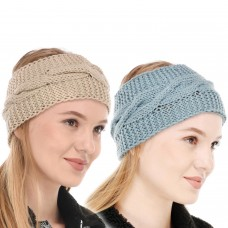 Blue and Beige Winter Woolen Womens Headband Earwarmer Earmuff