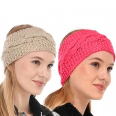 Pink and Beige Winter Woolen Womens Headband Earwarmer Earmuff