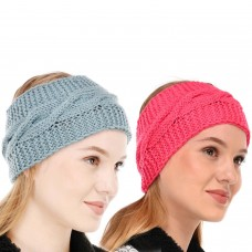Pink and Blue Winter Woolen Womens Headband Earwarmer Earmuff