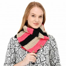 Multicolor buttoned handknitted neckwarmer muffler scarflett