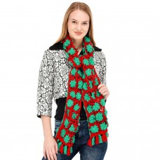Red Green Floral Handknitted muffler