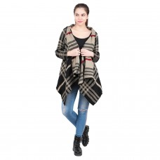 Beige and Brown Checked-Pattern Shrug