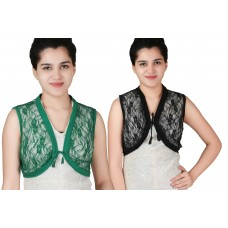 Pack of two Black and Green Sleeveless short lace shrug