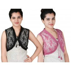 Pack of two Black and Pink Sleeveless short lace shrug
