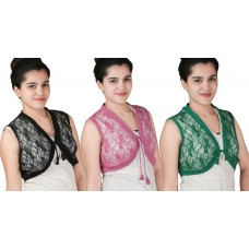 Pack of three Sleeveless short lace shrug