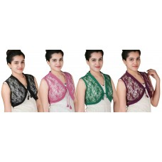 Pack of four sleeveless short lace shrugs