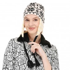 Black and White braided handknitted woolen beanie cap