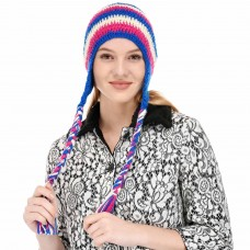 Multicolor braided handknitted woolen beanie cap