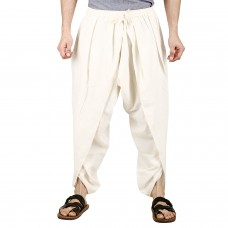 Unisex White Pure Cambric Cotton Dhoti Pants