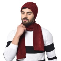 Unisex Knitted Combo of Woollen Muffler and Cap