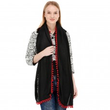 Stylish black jersey pompom scarf