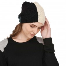 VR Designers mix colored soft wool winter handknitted cap for women