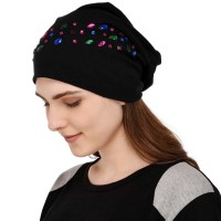 Colorful crystal studded solid black soft jersey cap, party cap for women