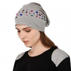 Colorful crystal studded solid grey soft jersey cap, party cap for women