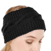 Black Winter Woolen Womens Headband Earwarmer Earmuff