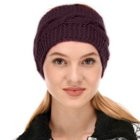 Wine purple Winter Woolen Womens Headband Earwarmer Earmuff