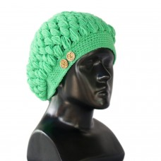 Emerald green handknitted crochet cap