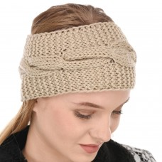 Beige Winter Woolen Womens Headband Earwarmer Earmuff